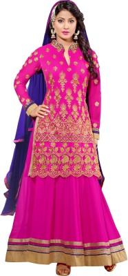 Fabfiza Net Self Design Semi-stitched Salwar Suit Dupatta Material