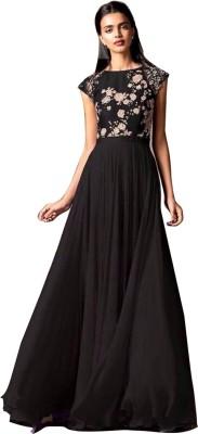 Jassu Fashion Hub Georgette Embroidered Semi-stitched Gown