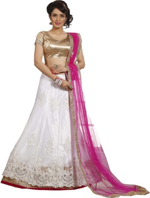 Bindiya Prints Net Embroidered, Embellished Semi-stitched Lehenga Choli Material
