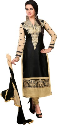 Shopping Queen Cotton Embroidered Semi-stitched Salwar Suit Dupatta & Waistcoat Material