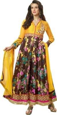 Indo Essence Brocade, Art Silk, Organza Floral Print Semi-stitched Salwar Suit Dupatta Material