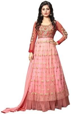 Radhe Studio Georgette Embroidered Semi-stitched Salwar Suit Dupatta Material