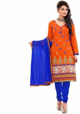 Fabfirki Chanderi Embroidered Salwar Suit Dupatta Material