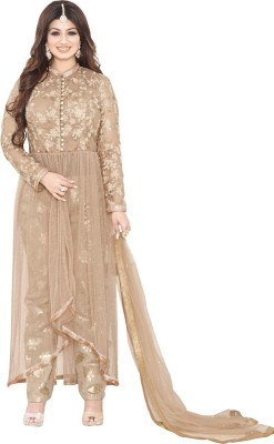 Fabfirki Fashion Hub Net Embroidered Semi-stitched Salwar Suit Dupatta Material