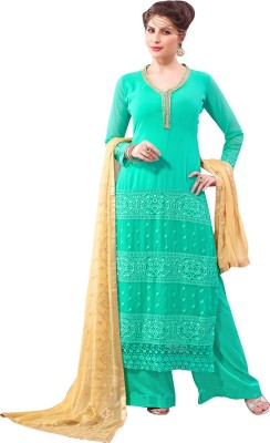 Neets Fashion Georgette Embroidered Semi-stitched Salwar Suit Dupatta Material
