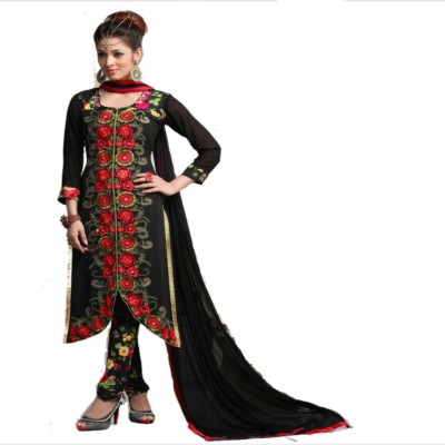 jbShoppers Georgette Embroidered Salwar Suit Material