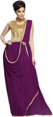 Vandv Shop Georgette Embroidered Gown & Waistcoat Material(Un-stitched)