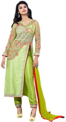 Diva Divine Silk Embroidered Semi-stitched Salwar Suit Dupatta Material