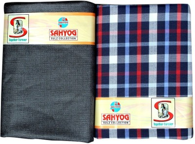 Sahyog Synthetic Checkered, Floral Print Shirt & Trouser Fabric(Un-stitched)