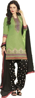 Women's Park Cotton Embroidered Semi-stitched Salwar Suit Dupatta Material