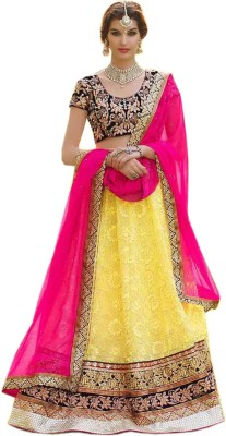 mGm Creation Net, Velvet Self Design Semi-stitched Lehenga Choli Material