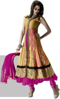 Aagamanfashion Net Self Design Semi-stitched Salwar Suit Dupatta Material