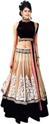 Style Mania Black Colored Velvet Lehenga Choli Silk Embroidered Lehenga Choli Material