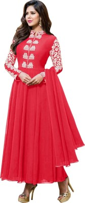 Suitevilla Georgette Solid Semi-stitched Salwar Suit Material