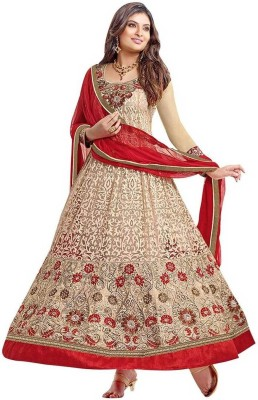 Javuli Brocade, Art Silk, Organza Embroidered Salwar Suit Material