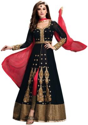 Viha Silk Embroidered Semi-stitched Salwar Suit Dupatta Material