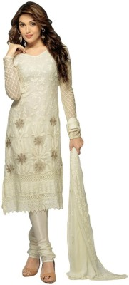 Wedding Villa Georgette Self Design Semi-stitched Salwar Suit Dupatta Material