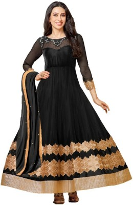 Nm Textile Net Embroidered Semi-stitched Salwar Suit Material