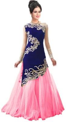 SkyBlue Fashion Velvet Embroidered Semi-stitched Lehenga Choli Material