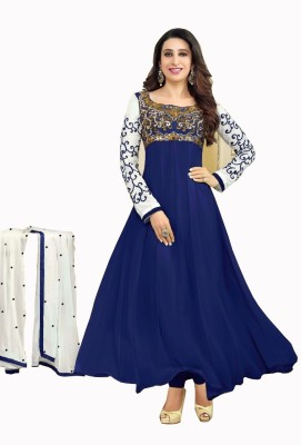 Suitebazar Georgette Embroidered Semi-stitched Salwar Suit Dupatta Material