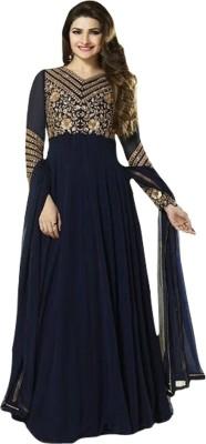 FASHIONUMA Georgette Houndstooth Semi-stitched Salwar Suit Dupatta Material
