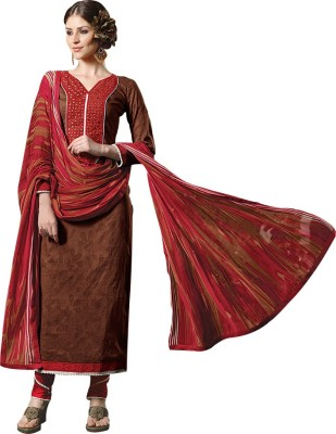 Aahalya Synthetic Georgette Embroidered Semi-stitched Salwar Suit Material