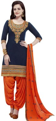 Whatshop Cotton Embroidered Salwar Suit Material