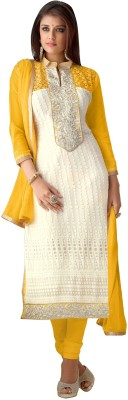 Trendz Apparels Georgette Embroidered Dress/Top Material