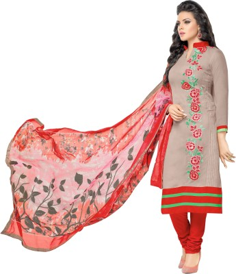 The Fashion World Cotton Embroidered Semi-stitched Salwar Suit Dupatta Material