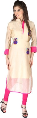 Aanchal Chanderi Embroidered, Solid Kurti Fabric
