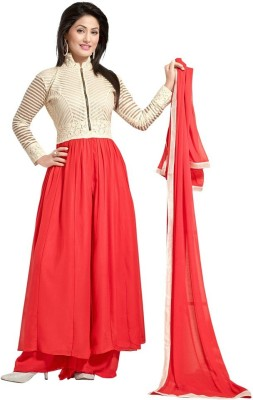 Indo Essence Georgette Embroidered Semi-stitched Salwar Suit Dupatta Material