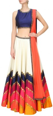 Fabron Cotton Polyester Blend Printed Semi-stitched Lehenga Choli Material