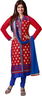 Fabcart Cotton Embroidered Semi-stitched Salwar Suit Material