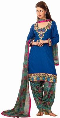 Fabfirki Cotton Embroidered Semi-stitched Salwar Suit Dupatta Material