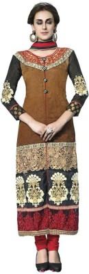 De Marca Silk Embroidered Semi-stitched Salwar Suit Dupatta Material