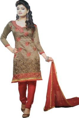 Bombay Fashion Chanderi Embroidered Salwar Suit Dupatta Material