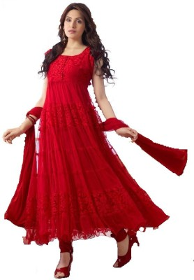 Avadh Fashion Brasso Floral Print Semi-stitched Salwar Suit Dupatta Material