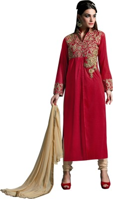 Fabliva Net Embroidered Semi-stitched Salwar Suit Dupatta Material