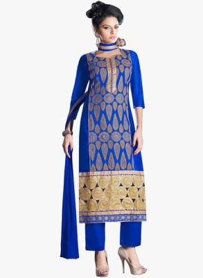 Jaamso Royals Chiffon, Cotton Embroidered Semi-stitched Salwar Suit Dupatta Material