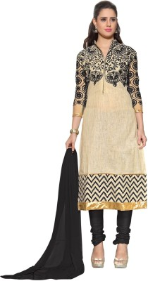 Styleworeld Cotton, Net Embroidered Semi-stitched Salwar Suit Dupatta Material