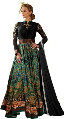 Thankar Silk Embroidered Semi-stitched Salwar Suit Dupatta Material