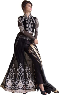 Ishin Georgette Embroidered Semi-stitched Salwar Suit Dupatta Material
