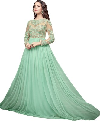 Fashion Fiza Georgette Embroidered Semi-stitched Salwar Suit Dupatta Material