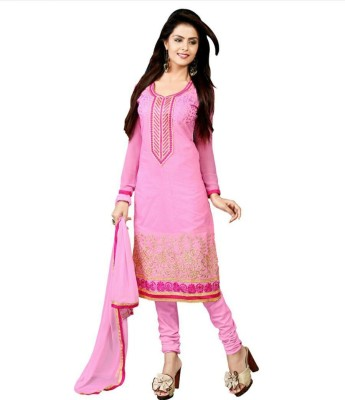 Angel Designer Chanderi Embroidered Semi-stitched Salwar Suit Dupatta Material