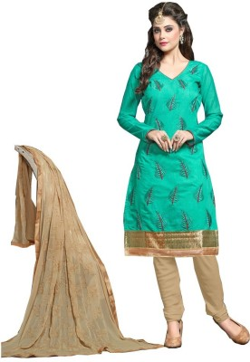 Youth Mantra Chanderi Embroidered Salwar Suit Dupatta Material