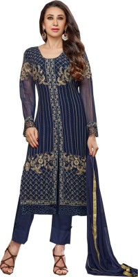 Indian E Fashion Georgette Embroidered Semi-stitched Salwar Suit Dupatta Material