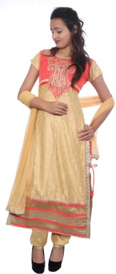 Nine Threads Net Embroidered Semi-stitched Salwar Suit Dupatta Material