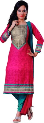 Vamakshi Cotton, Chiffon Self Design Semi-stitched Salwar Suit Dupatta Material