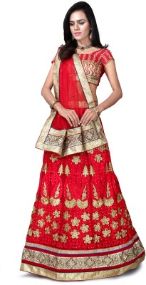 DD COLLECTION Net Embroidered Semi-stitched Lehenga Choli Material