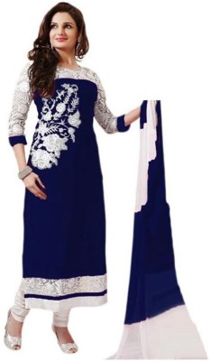 Santosafashion Georgette Embroidered Semi-stitched Salwar Suit Dupatta Material
